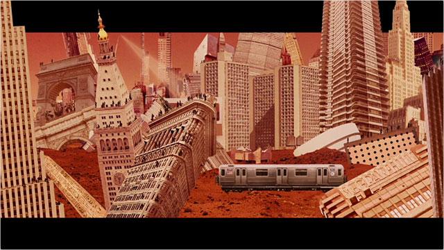 ニューヨークの建物が火星に飛ぶコラージュアニメーション